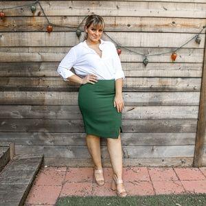 Emerald green wrap pencil skirt WHBM